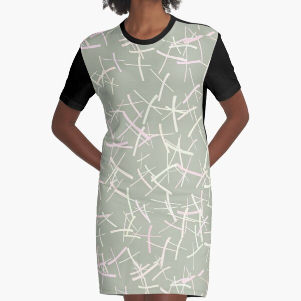 Chaos Crosses In Sage Green, Cream and Pink | Pattern Graphic T-Shirt Dress