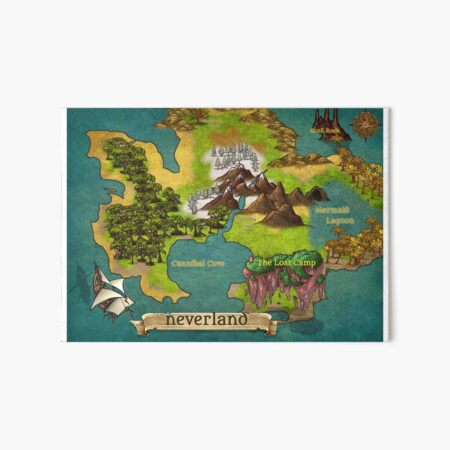 Neverland Map - Horizontal Art Board Print
