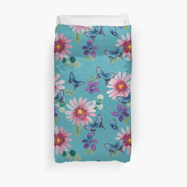 Daisies and Butterflies with Turquoise backgtound Duvet Cover