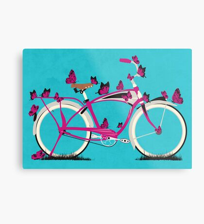 Butterfly Bicycle Metal Print