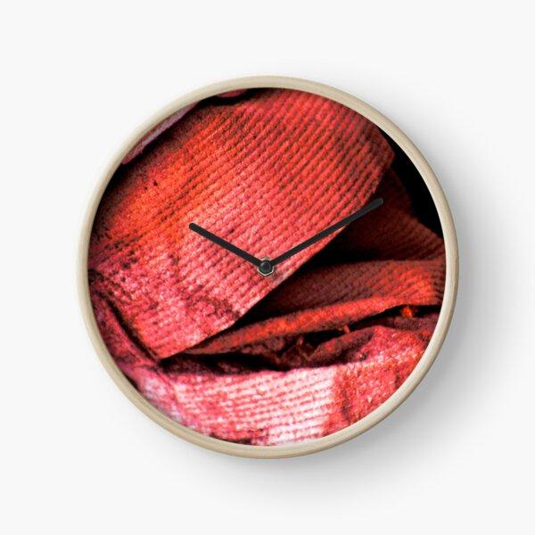 Rustic material in red Clock