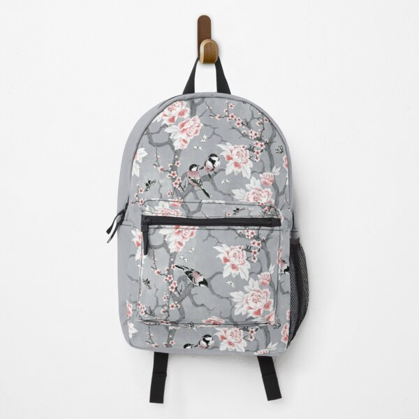 Chinoiserie birds in grey Backpack