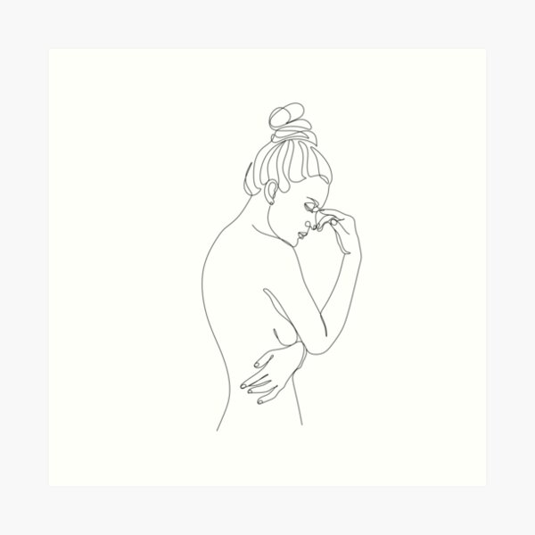 Nude Womans With Flower Heads Line Illustration Woman Body Sexy Art Line Drawing Of Girl Beautiful Woman Minimal Print Art Print By Onelineprint Redbubble