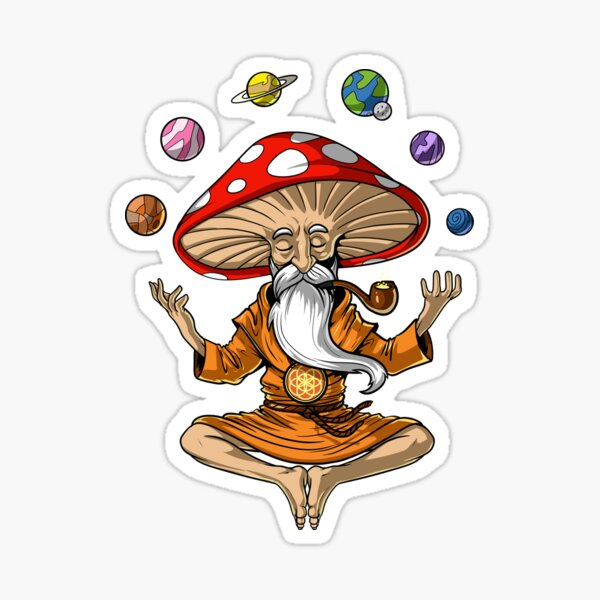 Magic Mushroom Buddha Sticker