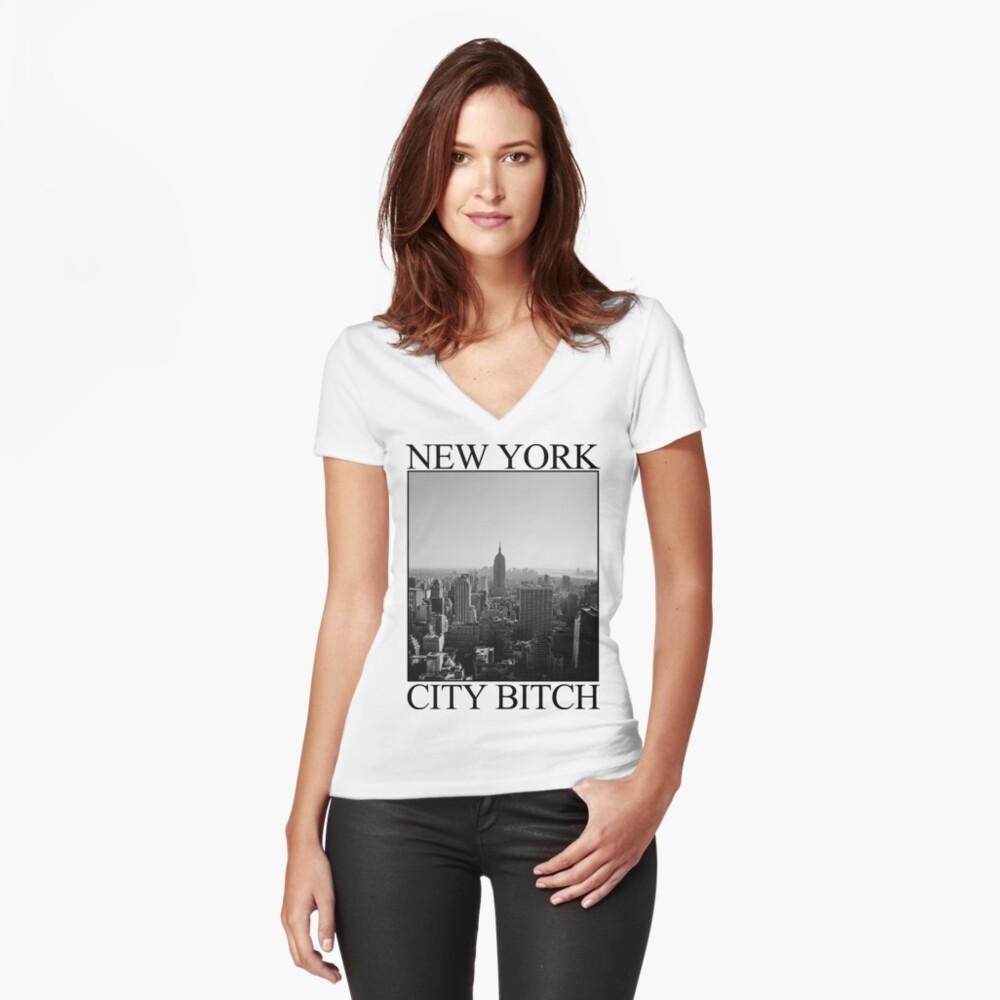 Camiseta entallada de cuello en VNew York City Bitch - B&W Delante