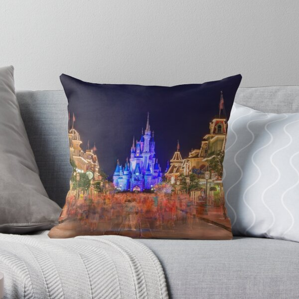 Nighttime On Main Street USA Throw Pillow