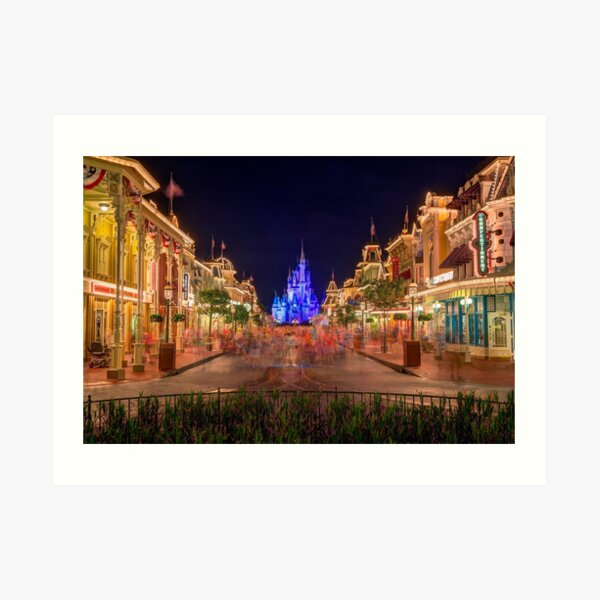 Nighttime On Main Street USA Art Print