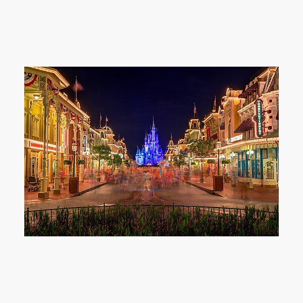 Nighttime On Main Street USA Photographic Print