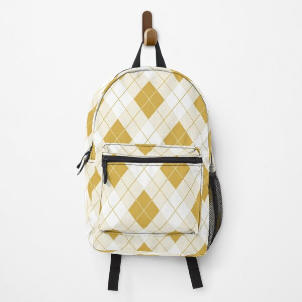 Spicy Mustard Yellow and White Argyle Check Plaid Backpack