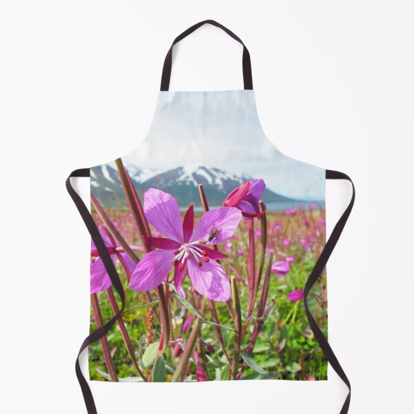 Watercolor Fly, House Fly 02, and Dwarf Fireweed, Dallvik, Iceland Apron
