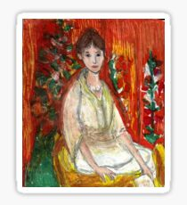 Lady In Front Of Decorated Screen Sticker