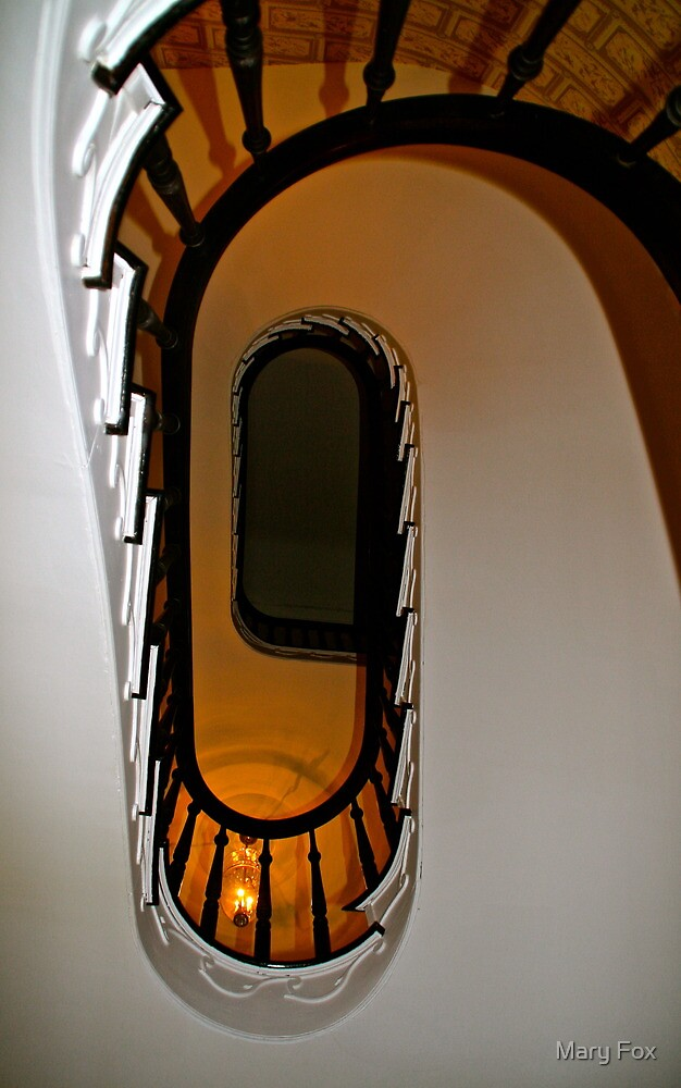 Looking up the staircase….. by Mary Fox