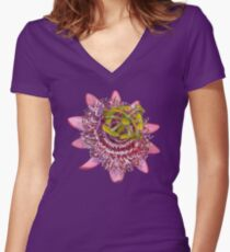 D1G1TAL-M00DZ ~ FLORAL ~ Passiflora by tasmanianartist for Karl May Friends Fitted V-Neck T-Shirt