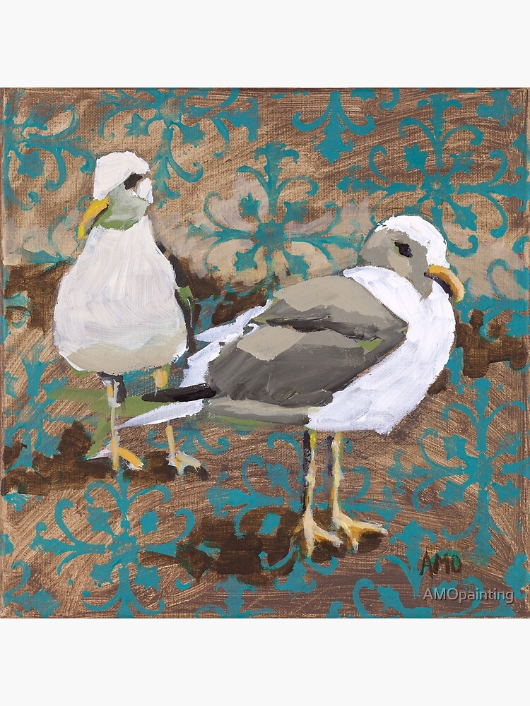 Seagull Couple with Pattern by AMOpainting