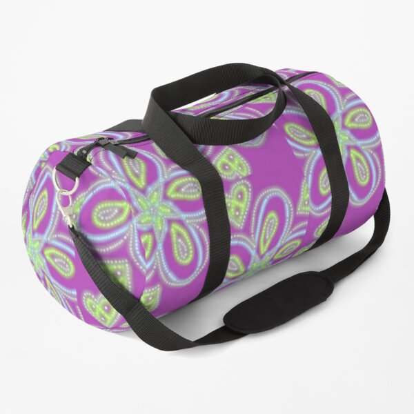 Purple Dotted Flower Duffle Bag