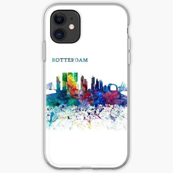 Rotterdam Holland Skyline Silhouette Impressionistic Splash iPhone Soft Case
