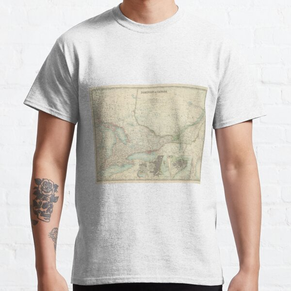 Vintage Map of Ontario and Quebec (1912) Classic T-Shirt