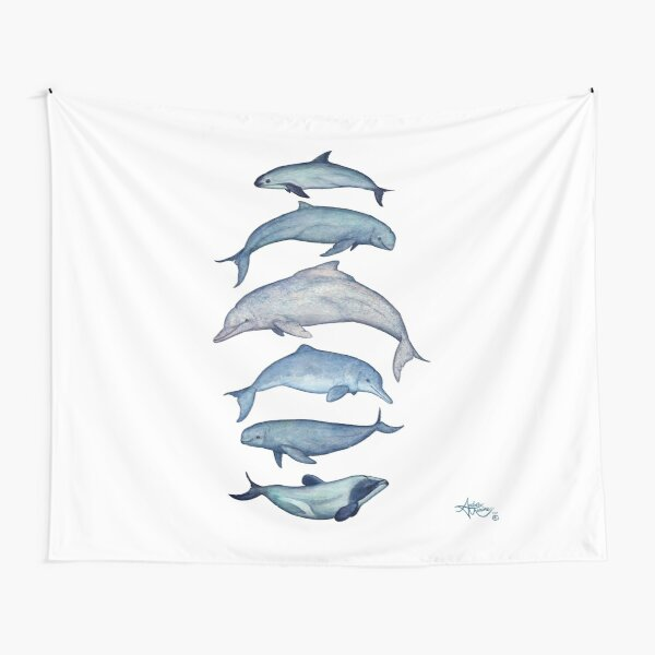 """""""Rare Cetaceans"""" by Amber Marine ~ (Copyright 2017) Watercolor dolphins and porpoises, © 2017 - Vaquita, irrawaddy, maui's, humpback, finless, baiji Tapestry"""