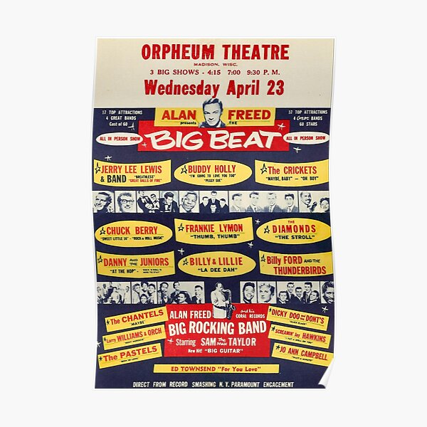 Buddy Holly, Chuck Berry, And Jerry Lee Lewis Orpheum Theatre 1958 Concert Poster Print. Poster