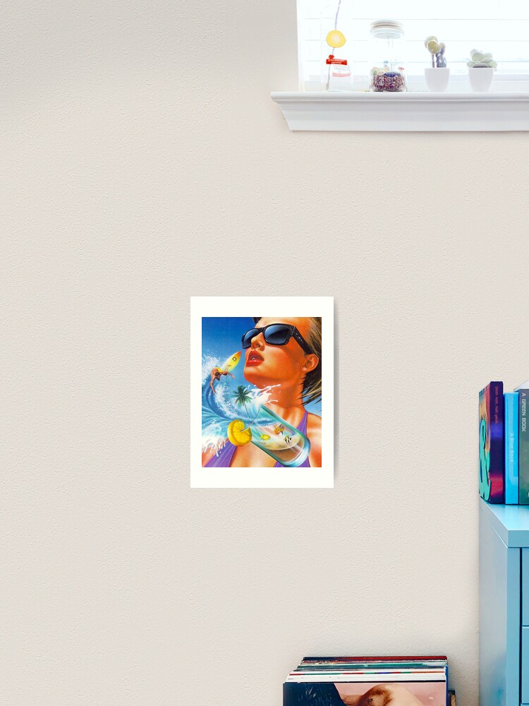 retro 80s girl summer dream pinup airbrush art print by retro80sart redbubble