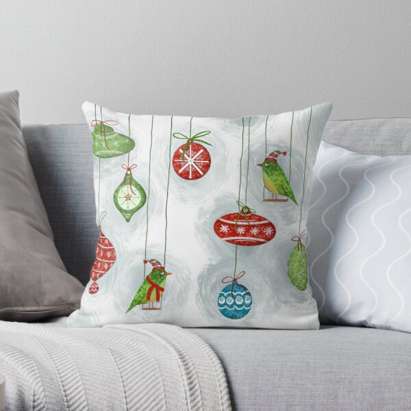 Christmas ornaments and friends  Throw Pillow