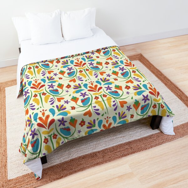 Colorful Mexican Otomi flowers pattern  Comforter