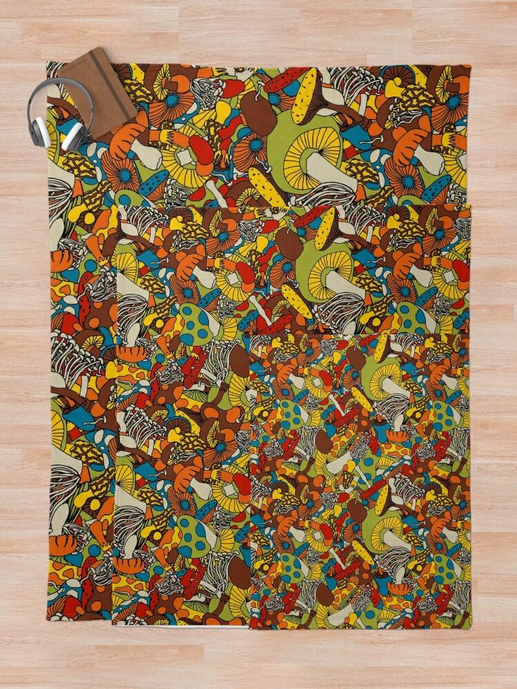 Alternate view of 70s psychedelic mushroom Throw Blanket
