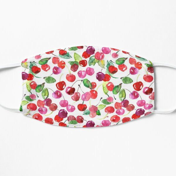 Watercolor Cherry Toss Print Flat Mask