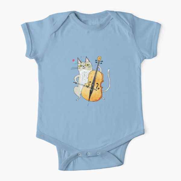 CAT VIOLIN Short Sleeve Baby One-Piece