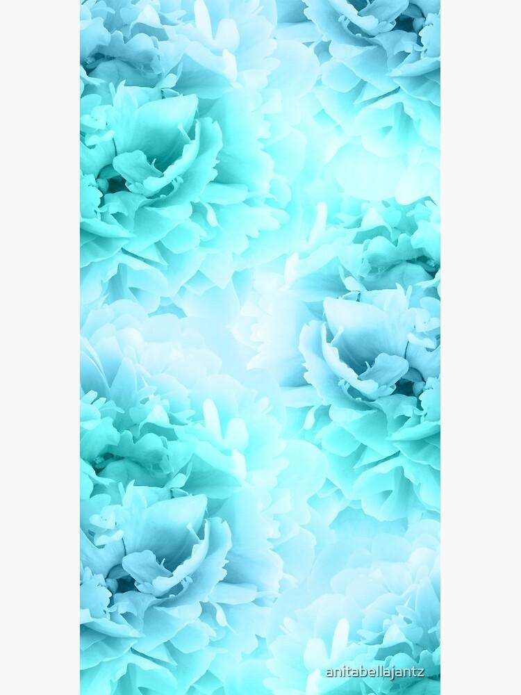 Aqua Blue Ocean Peonies Dream #1 #floral #decor #art by anitabellajantz