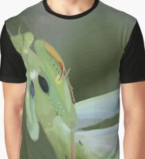 Green Mantis With Garden Background Vector Graphic T-Shirt