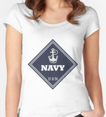 WW2 American Navy Shipping Placard Women's Fitted Scoop T-Shirt