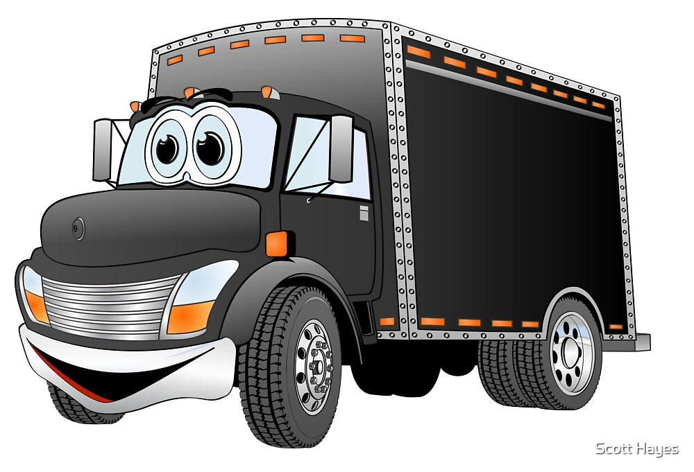 Delivery Truck Black Cartoon by Graphxpro