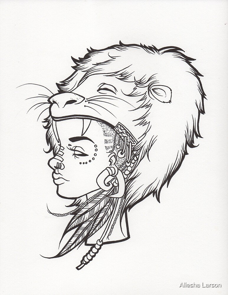 Line Drawing Of Lion : Quot lion queen line drawing by aliesha larson redbubble