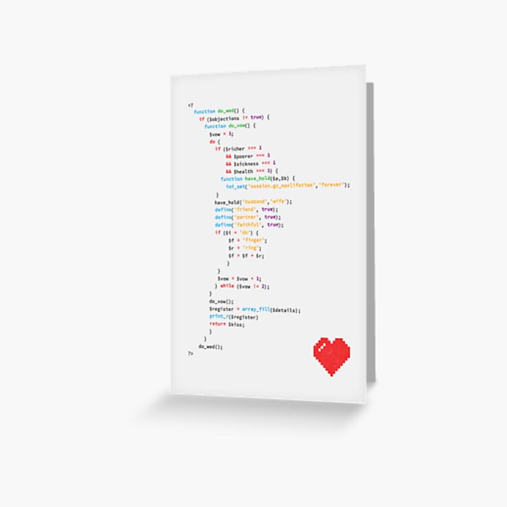 // the wedding code Greeting Card