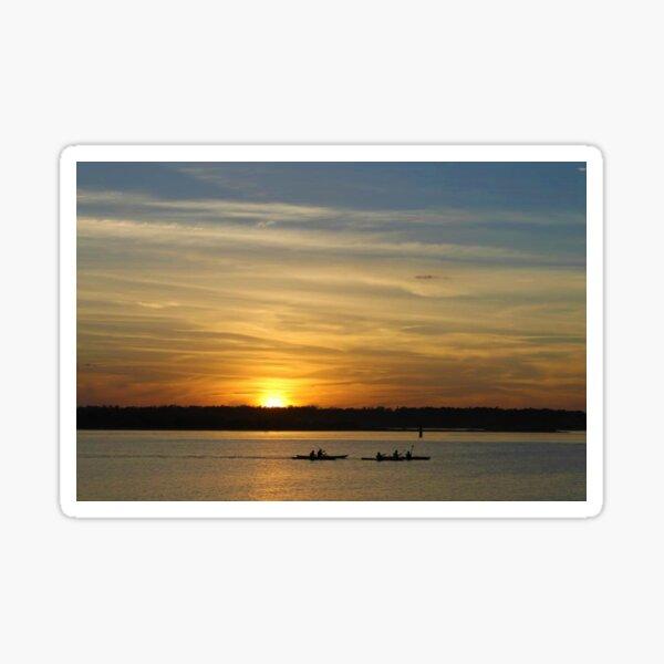 kayaks at sunset Sticker