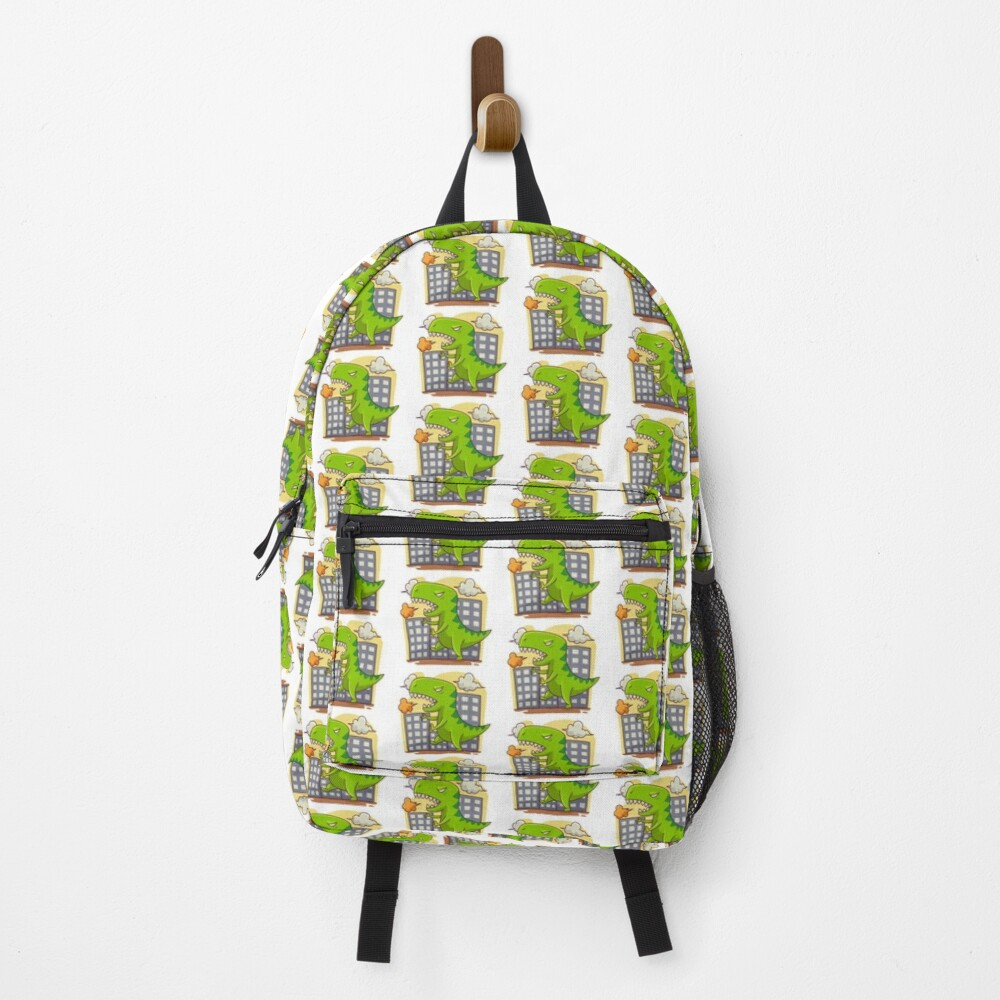 T Rex Dinosaur with Buildings Backpack