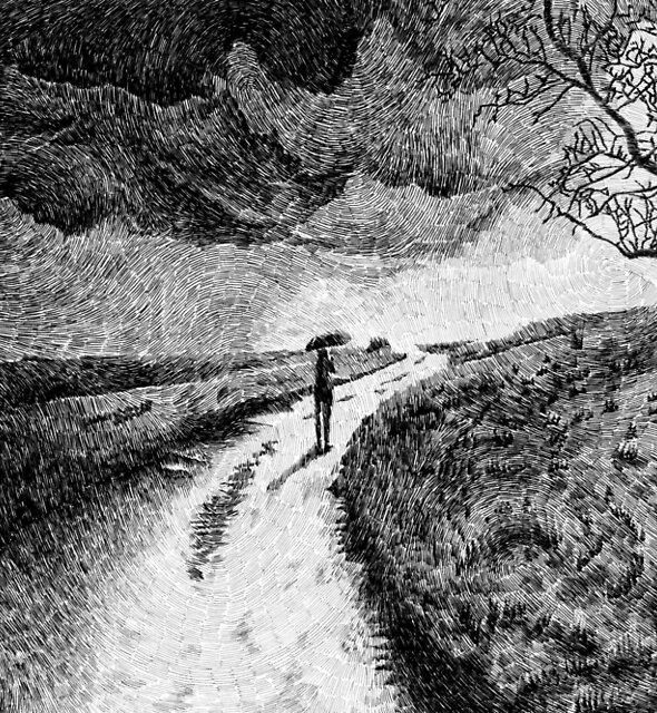 Fingerprint - Rain - Black ink by nicolasjolly