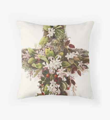 Easter Cross of Flowers  Throw Pillow
