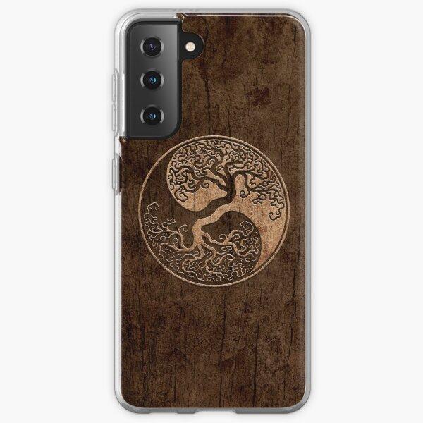 Rough Wood Grain Effect Tree of Life Yin Yang Samsung Galaxy Soft Case