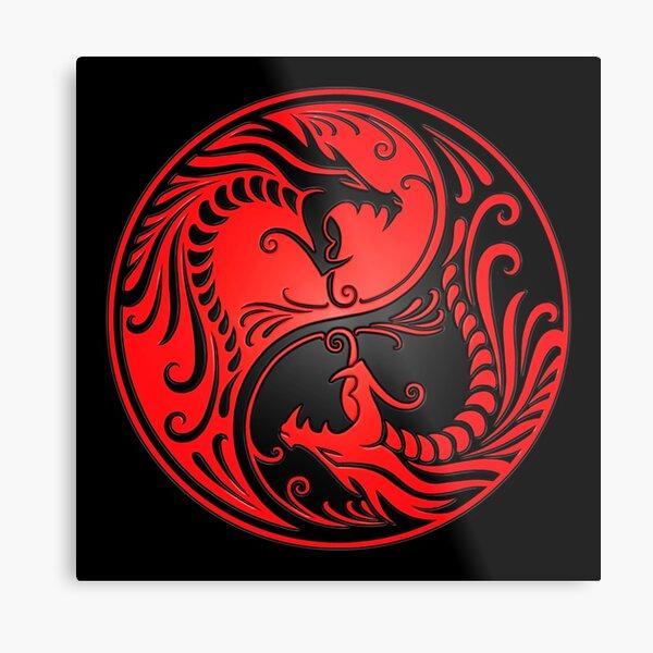 Yin Yang Dragons Red and Black Metal Print