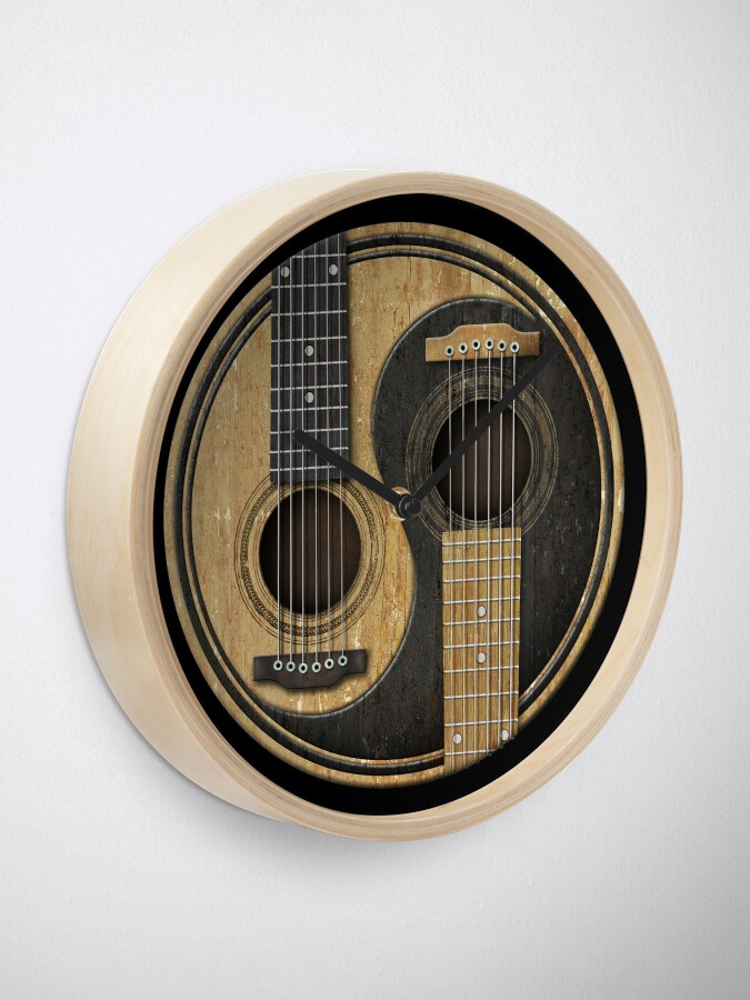 Alternate view of Old and Worn Acoustic Guitars Yin Yang Clock