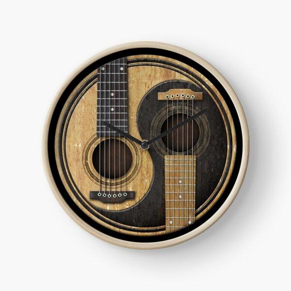 Old and Worn Acoustic Guitars Yin Yang Clock