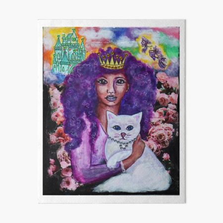 Innocent Girl with cat Art Board Print