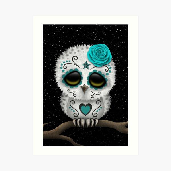 Cute Teal Blue Day of the Dead Sugar Skull Owl Art Print