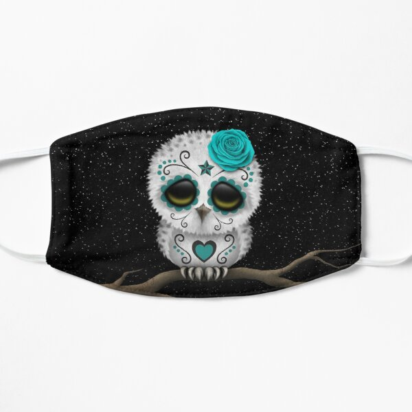 Cute Teal Blue Day of the Dead Sugar Skull Owl Flat Mask