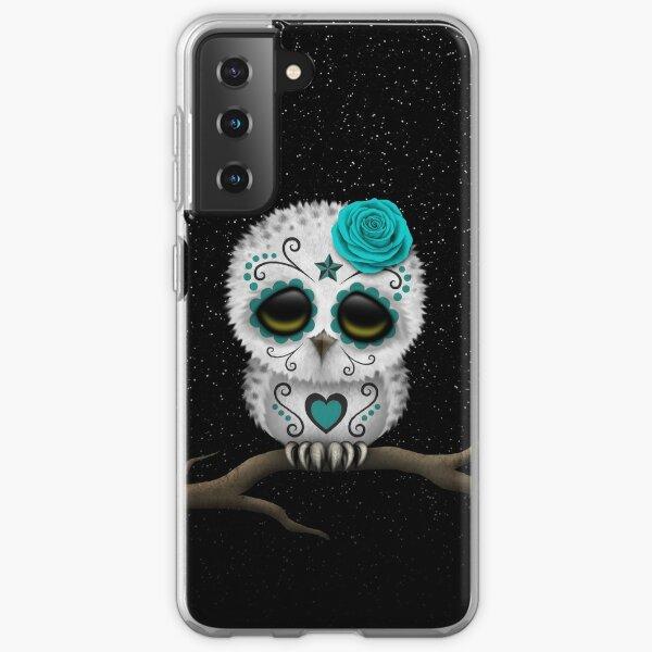 Cute Teal Blue Day of the Dead Sugar Skull Owl Samsung Galaxy Soft Case