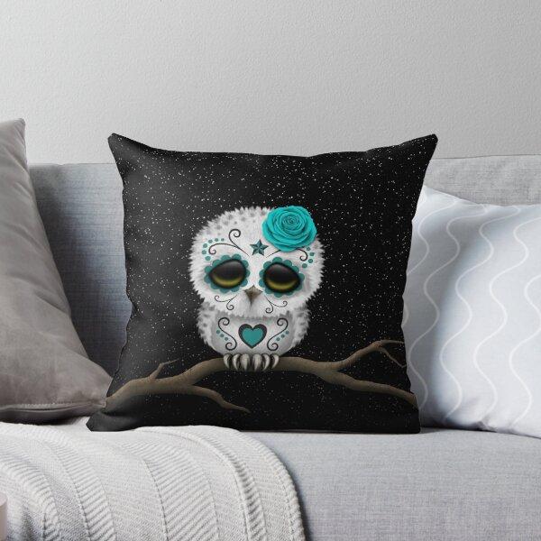 Cute Teal Blue Day of the Dead Sugar Skull Owl Throw Pillow