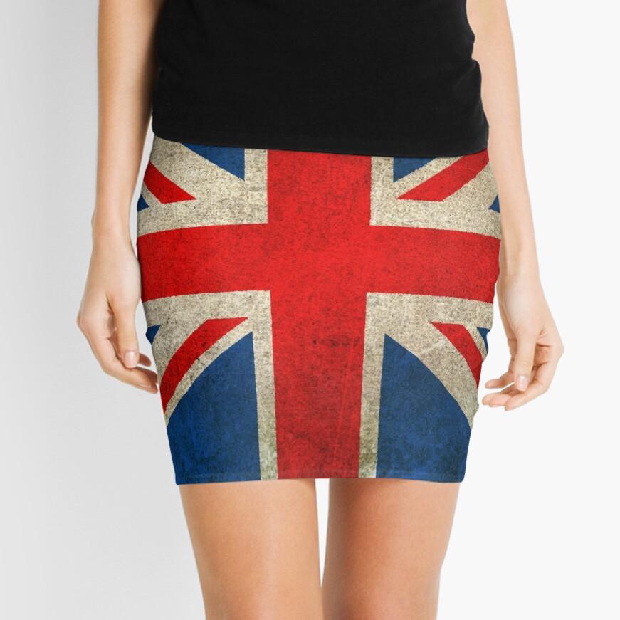 Old and Worn Distressed Vintage Union Jack Flag Mini Skirt