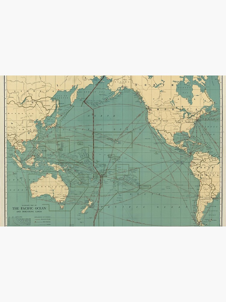 Vintage Map of the Pacific Ocean (1924) by BravuraMedia